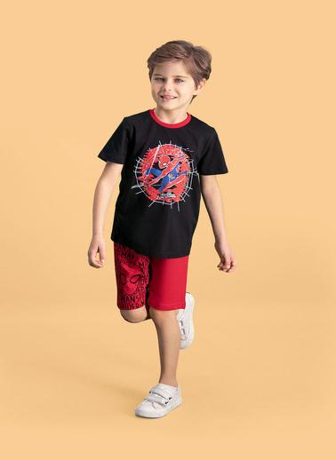 Spider-Man Spider Man Lisanslı Erkek Çocuk Bermuda Takım Siyah